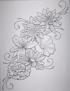 Flower tattoo outlines
