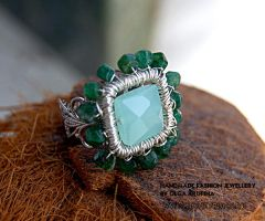 Ring with chalcedony and green by honeypunk