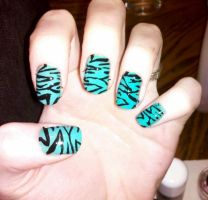 Green and black zebra nails by Chelseapoops