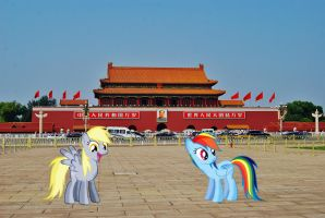 Derpy and Dashie at Tiananmen by laopokia