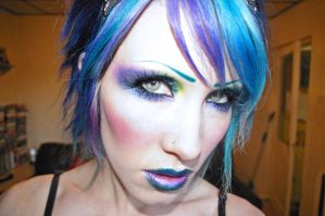Blue hair and makeup. by Ryo-Says-Meow