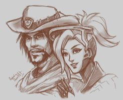 Overwatch - Mccree x Mercy by propimol