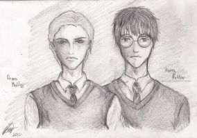 Harry and Draco Portrait by Karenscarlet