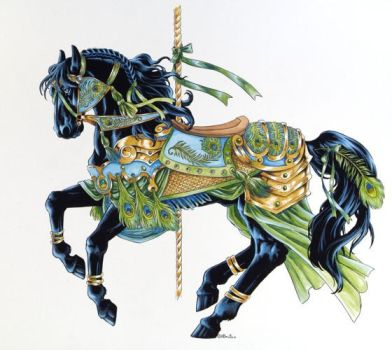 Peacock Carousel Horse by Hbruton