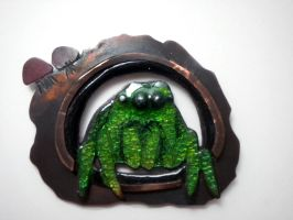 Jumping Spider Pendant by JeweledScarab