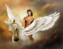 Bellerophon and Pegasus by dewmanna