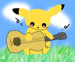 Pikachu with guitar AND COLOR by GhostKITTEN