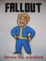 Fallout Vault Boy Cross Stitch by LordLibidan