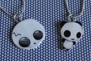 Skull And Panda necklace by crazydemon005