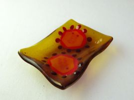Herpes Virus Fused Glass Dish by trilobiteglassworks