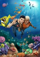 Superboy and Aqualad - commish by Autumn-Sacura