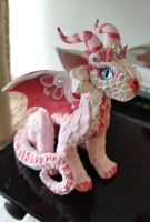 Pink and White baby Dragon by AstridMakosla