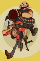 TF2: Heavy and Snipy by Nintendo-Nut1