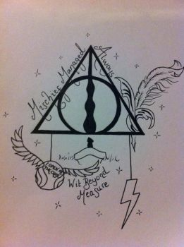 Harry Potter tattoo design Hallows by AmyLou31
