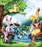 Eeveelutions by Exceru-Hensggott