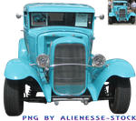 Retro Blue Car Cut-out PNG by Alienesse-Stock