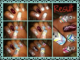 Multi-colored nail art tutorial by pierrettepaola