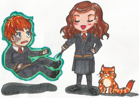 Ron, Hermione, and Crookshanks by PookNero