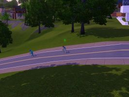 Sims 3 - Denise follow behind Annasophia in a road by Magic-Kristina-KW