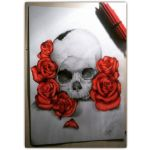 Skull and Roses by dddrawing2