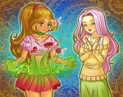 Flora and Fluttershy by Evgenia25