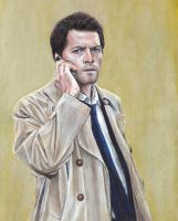 Castiel Misha Collins Acrylic Painting by Gothscifigirl