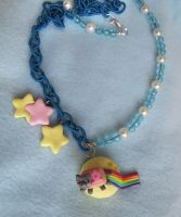 Nyan cat necklace: fly me to the moon by gothic-yuna