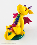 Yellow Rainbow Clay Dragon by HowManyDragons