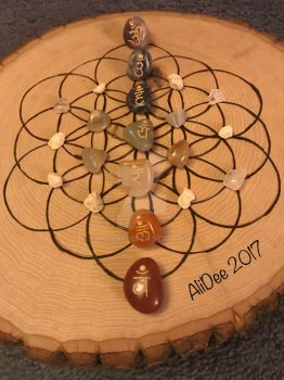 Woodburnt flower of life chakra crystal grid by AliDee33