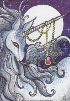 ACEO Unicorn and Amulet by benwhoski