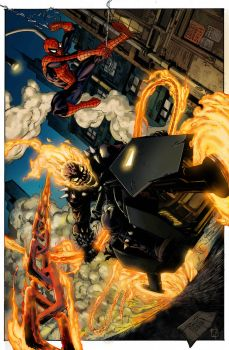 Ghost rider and spidey by aanturnip