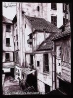 poor neighborhood street [ballpoint] by Rakisan-Art