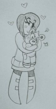 A reluctant Teddy hug by MsDoodleKnight