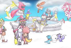 Digimon team hang out fountain by MiniDragonfly