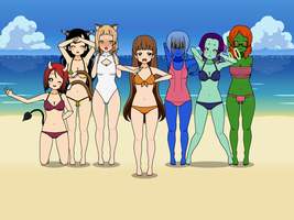 On the beach...monster and alien by Blue-marin