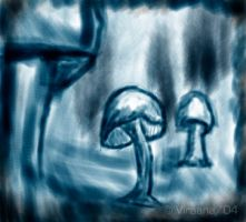 Shrooms in blue by Viraana
