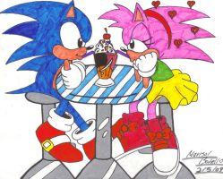 Old School Sonic and Amy by SupaSilver