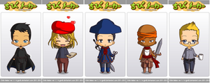 Assassin's Creed chibis-Friends by Darkflametailz