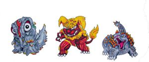 More Chibi Final Wars monsters by Amwuensch