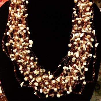 Rust and Pearls Necklace by medusasmirror
