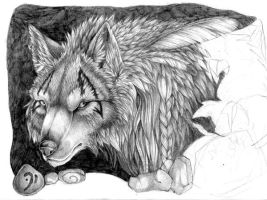 Wolf unfinished by Nalavara