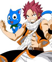 Natsu and Happy(final version) by Fakkun13