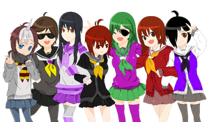 Anime Skydoesmincraft and friends as girls group by LordBreakfast