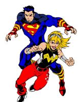 Superboy and Wonder Girl by kenmasters33