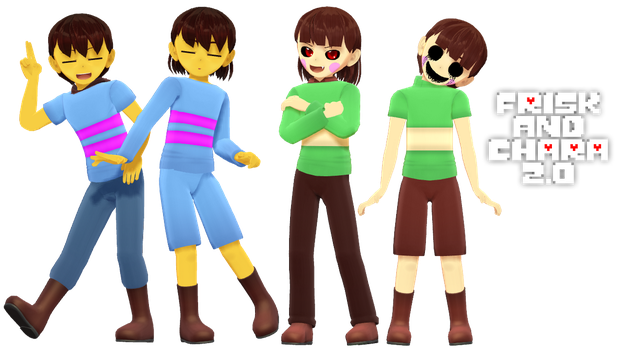 MMD Undertale - Frisk and Chara 2.0 by MagicalPouchOfMagic