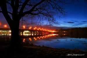 Home road bridge at night by docx