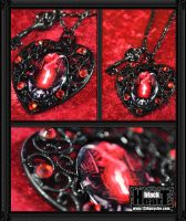 Black Heart Necklace by 13thpsyche