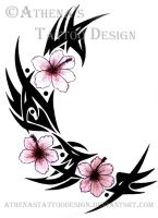 Tribal Hibiscus by athenastattoodesign