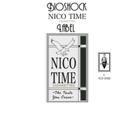 BioShock NICO TIME Cigarettes label by redsteal21