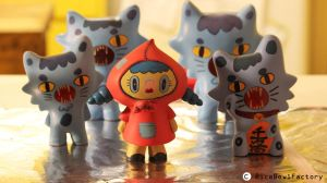 Little Miss Red Hood surrounded by cats by ricebowlfactory